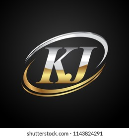 initial letter KJ logotype company name colored gold and silver swoosh design. isolated on black background.