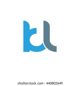 initial letter kl linked round lowercase logo blue