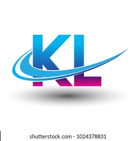 initial letter KL logotype company name colored blue and magenta swoosh design. vector logo for business and company identity.