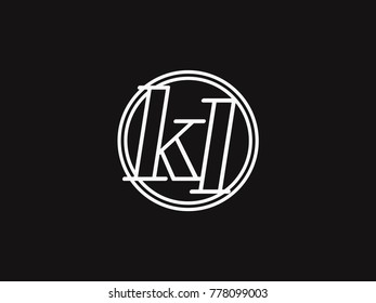 Initial letter kl lowercase outline inside the circle logo template white on black background