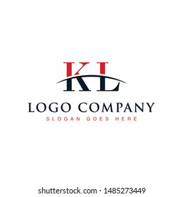 Initial letter KL, overlapping movement swoosh horizon logo company design inspiration in red and dark blue color vector