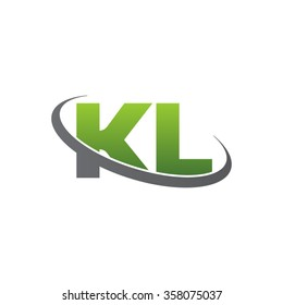 initial letter KL swoosh ring company logo green gray