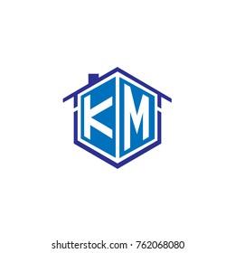 Initial letter km house logo design