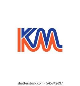 Initial Letter KM Linked Design Logo