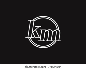 Initial letter km lowercase outline inside the circle logo template white on black background