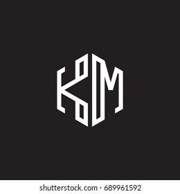 Initial letter KM, minimalist line art monogram hexagon shape logo, white color on black background