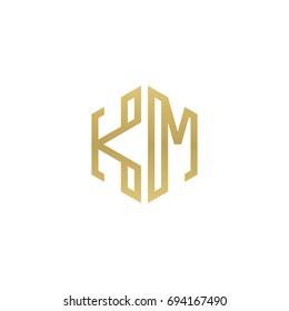 Initial letter KM, minimalist line art hexagon shape logo, gold color