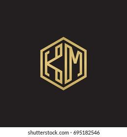 Initial letter KM, minimalist line art hexagon logo, gold color on black background