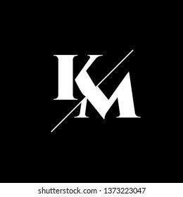 Initial Letter KM Monogram Sliced. Logo template isolated on black background