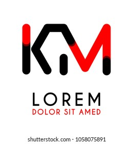 initial Letter KM with red Black and has rounded corners
