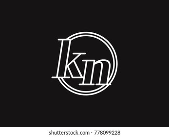 Initial letter kn lowercase outline inside the circle logo template white on black background