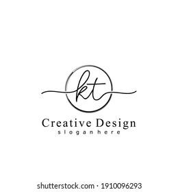 Initial letter KT calligraphy handwritten logo. Handwritten alphabet in the logo template. Letters and Alphabet for your logo design.