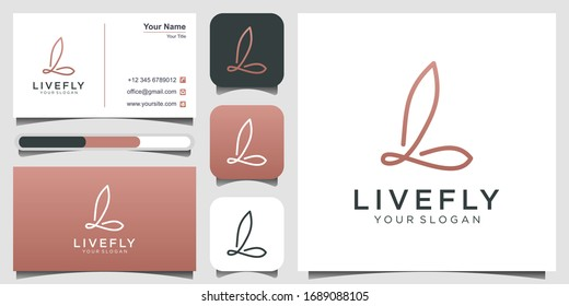 Initial letter L with abstract butterfly element. minimalist line art monogram shape logo. Beauty, luxury spa style. logo design, 3 favicons and business card Premium Vector.