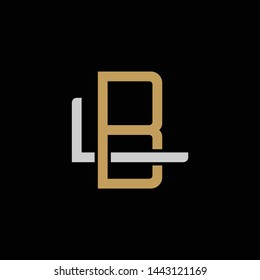 Initial letter L and B, LB, BL, overlapping interlock logo, monogram line art style, silver gold on black background