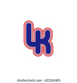 initial letter l and k. lk monogram outline logo