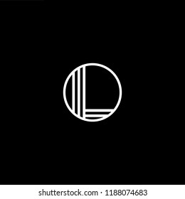 Initial letter L LL LLL LO OL minimalist art monogram shape logo, white color on black background.