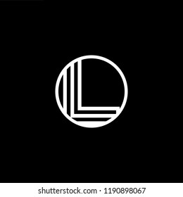 Initial letter L LL LLL OL LO minimalist art monogram shape logo, white color on black background.