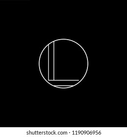 Initial letter L LL LO OL minimalist art monogram shape logo, white color on black background.