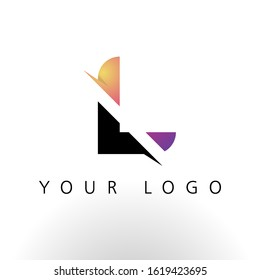 Initial Letter L Logo Design With Creative Lines and Swosh in Purple color vector template