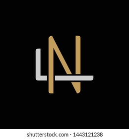 Initial letter L and N, LN, NL, overlapping interlock logo, monogram line art style, silver gold on black background