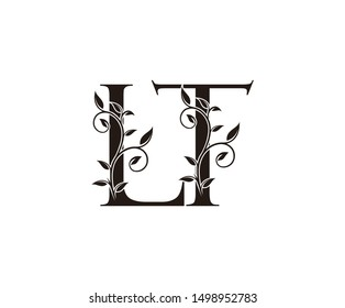 Initial letter L and T, LT, vintage Logo Icon, classy black letter monogram logo icon suitable for boutique,restaurant, wedding service, hotel or business identity.