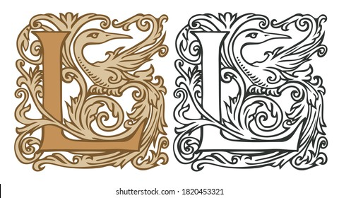 Initial letter L with vintage Baroque decorations. Two vector uppercase letters L in beige and black-white colors. Beautiful filigree capital letter to use for monogram, logo, emblem, card, invitation