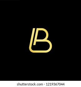Initial letter LB BL minimalist art logo, gold color on black background.