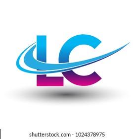 initial letter LC logotype company name colored blue and magenta swoosh design. vector logo for business and company identity.