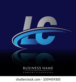 initial letter LC logotype company name colored blue and grey swoosh design. vector logo for business and company identity.