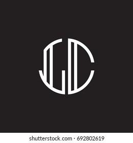 Initial letter LC, minimalist line art monogram circle shape logo, white color on black background