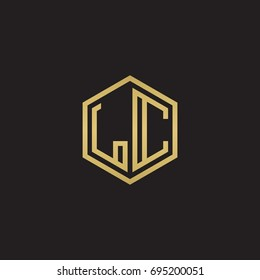 Initial letter LC, minimalist line art hexagon logo, gold color on black background