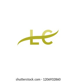 Initial letter LC, overlapping movement swoosh logo, green color on white background
