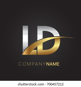 initial letter LD logotype company name colored gold and silver swoosh design. isolated on black background.