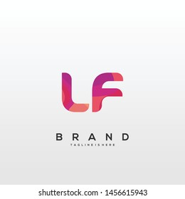 Initial letter LF logo with colorful background, letter combination logo design for creative industry, web, business and company. - Vector