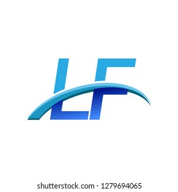 initial letter LF logotype company name colored blue and swoosh design. vector logo for business and company identity.