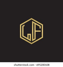 Initial letter LF, minimalist line art hexagon logo, gold color on black background