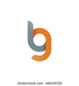 initial letter lg, bg, modern linked circle round lowercase logo orange gray