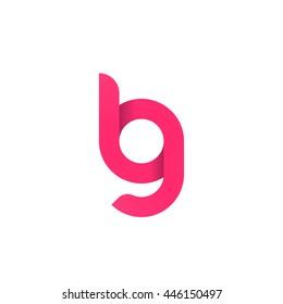 initial letter lg, bg, modern linked circle round lowercase logo pink