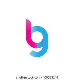 initial letter lg linked round lowercase logo pink blue