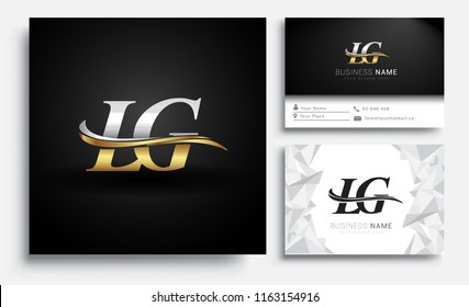 initial letter LG logotype company name colored gold and silver swoosh design. Vector sets for business identity on white background.