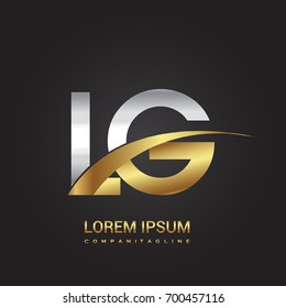 initial letter LG logotype company name colored gold and silver swoosh design. isolated on black background.