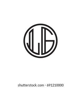Initial letter LG, minimalist line art monogram circle logo, black color