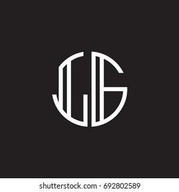 Initial letter LG, minimalist line art monogram circle shape logo, white color on black background