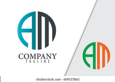 Initial Letter AM With Linked Circle Logo