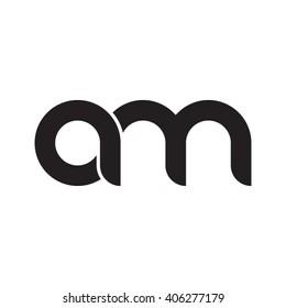 initial letter am linked circle lowercase monogram logo black
