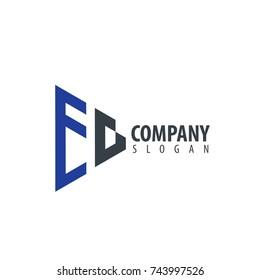 Initial Letter EG Linked Triangle Design Logo