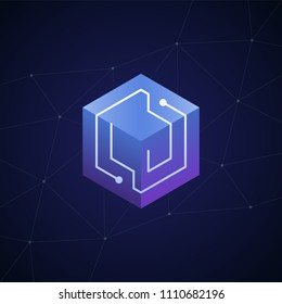 Initial letter LJ, block chain, looping mono line circuit letter on hexagon cube logo, blue magenta gradient color on black blue network background