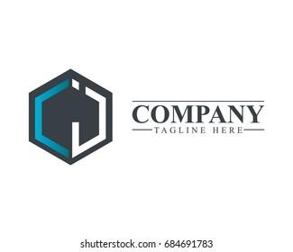 Initial Letter LJ LI Hexagonal Design Logo