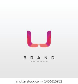 Initial letter LJ logo with colorful background, letter combination logo design for creative industry, web, business and company. - Vector