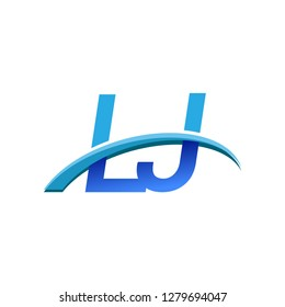 initial letter LJ logotype company name colored blue and swoosh design. vector logo for business and company identity.